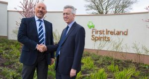 Warren Scott (left) of Quintessential Brands Group with Aidan Tallon CFO of  First Ireland Spirits at the announcement of the acquisition. Photograph: Thomas Nolan.