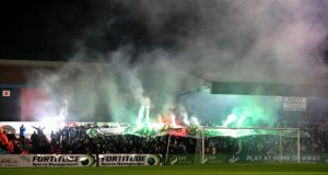 Shamrock Rovers fans at Dalymount for the recent game against Bohemians.