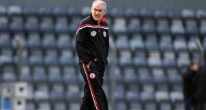 Tyrone manager Mickey Harte makes only one change for Tyrone's Division One encounter with Dublin at Omagh as Emmet McKenna comes in at wing forward for hamstring victim Tiernan McCann. Photograph: Ryan Byrne/Inpho