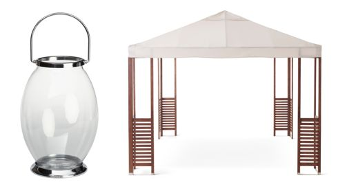 Glass and stainless steel bowl lantern, €34.99, Homebase Applaro gazebo, €290, Ikea