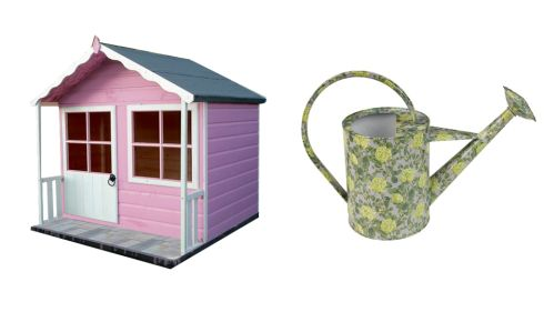 Pink Kitty Shiplap playhouse, €265, B&Q Floral watering can, €49.95, Ikea