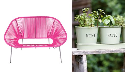 Bright pink Moretta metal bench, €105, B&Q Flower pots and tray, €17.49, Homebase