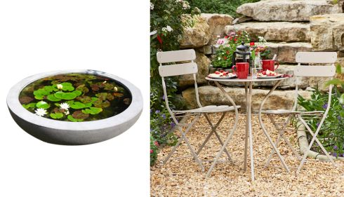 Lily bowl, from €799, Urbis design at Howbert and Mays, Monkstown, Dublin Garden Bistro furniture set, €83.99, Argos