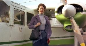 Mary O'Hara at Galway Airport before flying to the Aran Islands in 1975. Photograph: Joe O'Shaughnessy