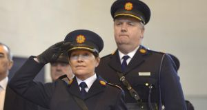 Acting Garda Commissioner Noirín O'Sullivan with Supt Fintan Fanning at the Garda Reserve graduation ceremony in Templemore yesterday. Photograph: Brenda Fitzsimons