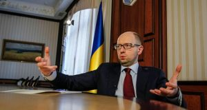 Ukraine's prime minister Arseny Yatseniuk gestures during an interview  in Kiev this week. Photograph: Valentyn Ogirenko/Reuters