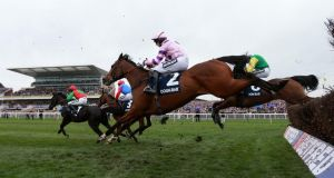 Hinterland ridden by Noel Fehily in the Doom Bar Maghull Novies' Steeple Chase during Grand National Day. Photograph: David Davies/PA Wire