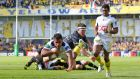 Clermont's Wesley Fofana scores his  try against Leicester. Photograph: James Crombie/Inpho