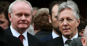 The state banquet will be attended by Northern Ireland First Minister Peter Robinson (right) and deputy First Minister Martin McGuinness (left). Photograph: Brian Lawless/PA Wire