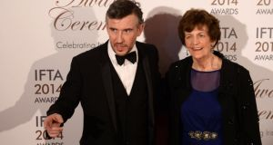 Actor Steve Coogan with Philomena Lee, at the 11th annual Irish Film & Television Awards (Ifta) at the Double Tree by Hilton Dublin Hotel tonight. Photograph; Dara Mac Dónaill/The Irish Times