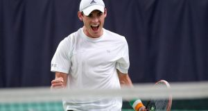 James McGee celebrates after winning his match against  Egyptian number one Mohamed Safwat at Castleknock Lawn Tennis Club. Photograph: Inpho/Ryan Byrne