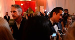 Jeremy Irons and Colin Farrell at the Iftas  in Dublin at the weekend. Photograph; Dara Mac Dónaill