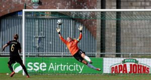 One of the three goals conceded by  Emma Byrne of Ireland in her side's defeat to Germany. Photograph: Ryan Byrne/Inpho