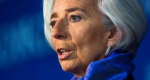 "International Monetary Fund managing director Christine Lagarde said the IMF was ""extremely generous in its suggestions"" regarding ECB policy decisions. Photograph: EPA/Jim Lo Scalzo"
