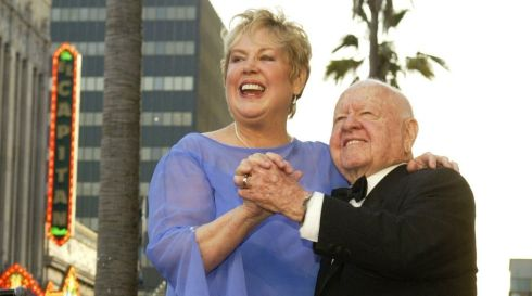 Mickey Rooney and his wife Jan dance on their star after it was unveiled on the Hollywood Walk of Fame in Hollywood on April 26th, 2004. Rooney, the pint-sized screen dynamo of the 1930s and 1940s best known for his boy-next-door role in the Andy Hardy movies, died on April 6, 2014 at 93. Photograph: Lucy Nicholson/Reuters
