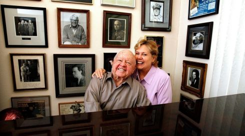 A wall filled with memories: the actor with his wife Jan at his home in Westlake Village, California on February 14th, 2007. Photograph: Mario Anzuoni/Reuters