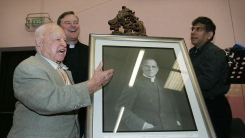 The actor played the part of Whitey Marsh in Boys Town, a film which told the story of Fr Edward Flanagan's boys' home called Boys' Town, located in Nebraska ni the US. Here the actor is pictured in September 2007 with Fr Steven Boes, national executive director, Girls and Boys Town, and Paul Otero, artist and Boys Town alumni,  unveiling a portrait of Fr Flanagan at a ceremony in the latter's home town of Ballymoe , Co Roscommon to mark the 90th anniversary of the original  boys' home. Photograph: Alan Betson/The Irish Times