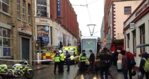 A woman in her 30s has been killed in a Dublin city centre collision involving a Luas tram and a car at the junction of Jervis Street and Abbey Street Upper. Photograph: Damien Mulley via Twitter