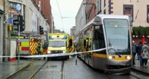 The scene of a collision between a Luas and a car which has resulted in a female pedestrian being killed. Photograph: Cregor Elliott via Twitter