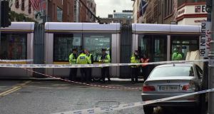Scene of this morning's fatal crash involving a Luas and a car in which a pedestrian was killed. Photograph: Dara MacDónaill / The Irish Times