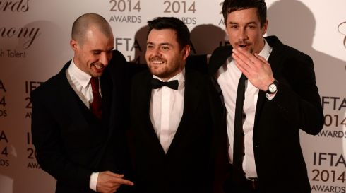Love Hate stars Tom Vaughan Lawlor, Laurence Kinlan and Killian Scott at the 11th Annual Irish Film & Television Awards (IFTA) at The Double Tree by Hilton Hotel, formerly the Burlington Hotel, in Dublin at the weekend. Photograph: Dara Mac Dónaill/The Irish Times