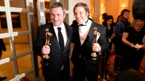 Love/Hate writer and producer Stuart Carolan, (Television Drama) and Peter Coonan, who acted in the series (Supporting Role Television) with their awards. Looks like they're having a good time of it. Photograph: Dara Mac Dónaill/The Irish Times
