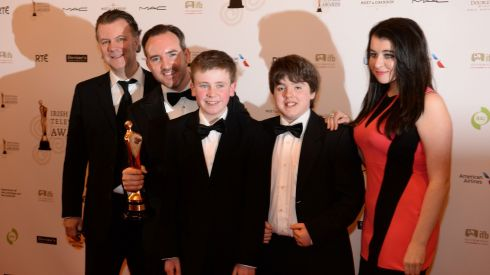 The cast of Moone Boy with their award. Photograph: Dara Mac Dónaill/The Irish Times