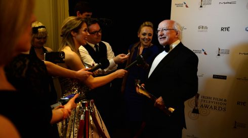 President Michael D Higgins, winner of the Industry Award. Getting quite a bit of attention.  Photograph: Dara Mac Dónaill/The Irish Times
