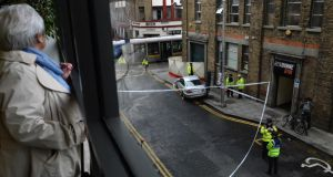 The scene of the fatal Luas crash at the Abbey Street/Jervis Street junction in Dublin today. Photograph: Dara Mac Dónaill/The Irish Times
