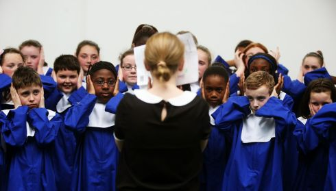 St Molaga's pupils prepare for the Junior Unison competition. Photograph: Brian Lawless/PA Wire