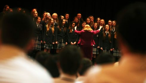 The Scoil Mhuire post-primary school choir compete for the Turner-Huggard Memorial Cup. Photograph: Brian Lawless/PA Wire