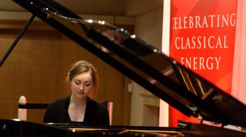 Ellen Jansson from Cork, who came second in the Huban Cup and Patrick Brennan Award at the piano. Photograph: Cyril Byrne/The Irish Times