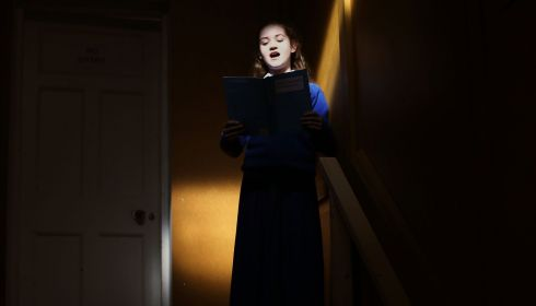 Leah Kavanagh (13), of the Mounst Sackville secondary school choir, practices The Lord is My Shepherd during Feis Ceoil 2014. Photograph: Brian Lawless/PA Wire