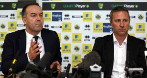 Norwich City chief executive David McNally and New Norwich City manager Neil Adams during a press conference at the Colney Training Centre, Norwich. Photograph: Chris Radburn/PA Wire