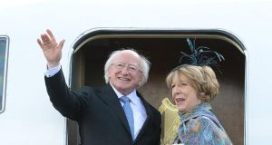 The President Micheal D Higgins and his wife Sabina departing for their State visit to Britain at Casement Aerodrome in Baldonnel today. Photograph:  Cyril Byrne/The Irish Times