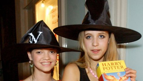Teenage kicks: Peaches (right) and Pixie Geldof showing off their Harry Potter and the Order of the Phoenix books outside Waterstone's in London's Piccadilly following the book's midnight release in June 2003. Photograph: Myung Jung Kim/PA Wire