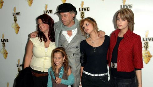 Sir Bob Geldof with his daughters (left to right)  Fifi, Tiger Lily (in front), Pixie and the late Peaches  at the global premiere for the DVD release of Live 8 MAKEpovertyHISTORY  in October 2005. Photograph: Steve Parsons/PA Wire