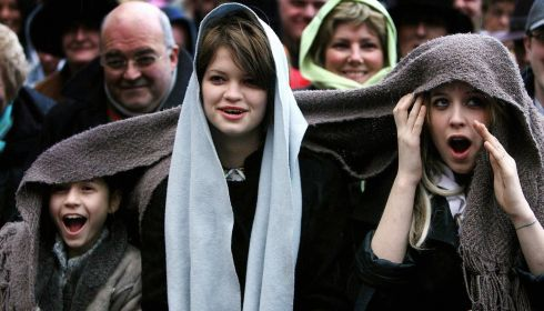 Tiger Lily, Pixie and Peaches Geldof applaud as Sir Bob Geldof receives the Freedom of Dublin City in a special ceremony outside the Mansion House on March 5th, 2006. Photograph: Julien Behal/PA Wire