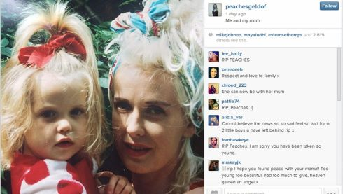 Screengrab of picture of Peaches with her mother Paula Yates taken when she was little, posted on Peaches' Instagram feed before her death.