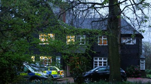 Police officers attend the home of Peaches Geldof in Wrotham, Kent after her death at the age of 25. Photograph: Gareth Fuller/PA Wire