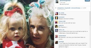A tweet by Peaches Geldof of a picture of her with her mother Paula Yates