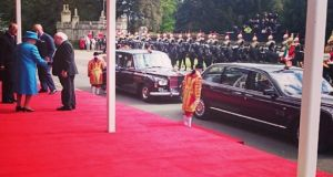 President Michael D Higgins is greeted by Queen Elizabeth II in Windsor. Photograph: @the_british_monarchy/Twitter.