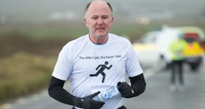 Kevin Haugh in action during the West Clare Mini Marathon from Carrigaholt to Kilkee. Photograph: John Kelly
