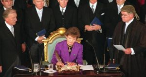 Mary Robinson during her inauguration as president in 1990. Photograph: Matt Kavanagh