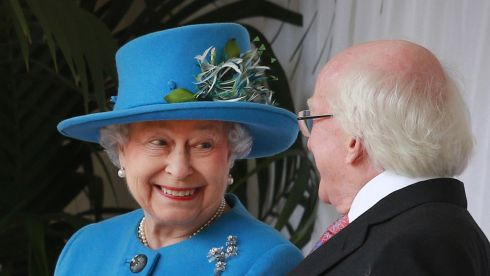The heads of state go head to head. Queen Elizabeth II and President Michael D Higgins together at Windsor Castle during the historic presidential state visit to Britain. Photograph: Peter Macdiarmid/PA Wire