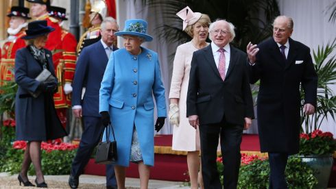 Queen Elizabeth walks with Camilla the Duchess of Cornwall, the Prince of Wales, Sabina Higgins, Michael D Higgins and the Duke of Edinburgh at Windsor Castle today. Photograph: Peter Macdiarmid/PA Wire