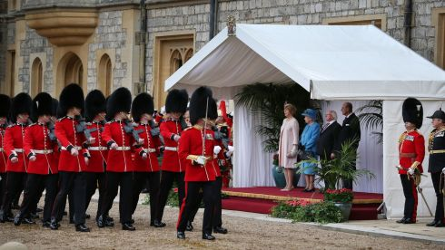 The party watches a ceremonial welcome at Windsor Castle in Berkshire. Photograph: Peter Macdiarmid/PA Wire