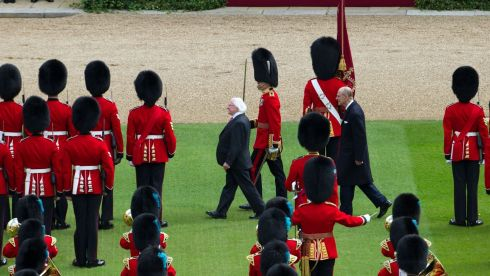 Michael D Higgins inspects the guards. Photograph: Steve Parsons/PA Wire