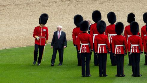 The President with all the queen's men. Photograph: Steve Parsons/PA Wire