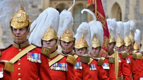 Members of the Queen's Guard in  the Quadrangle at Windsor Castle during the state visit. Photograph: Alan Betson/The Irish Times